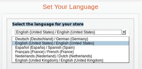seleção de idiomas no Magento Go - imagem: André Gugliotti