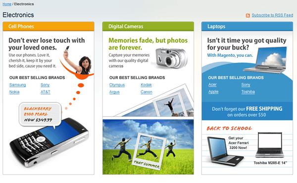 landing page totalmente customizada no Magento - imagem: demo.magentocommerce.com