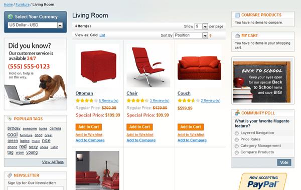 página de categorias convencional  no Magento - imagem: demo.magentocommerce.com