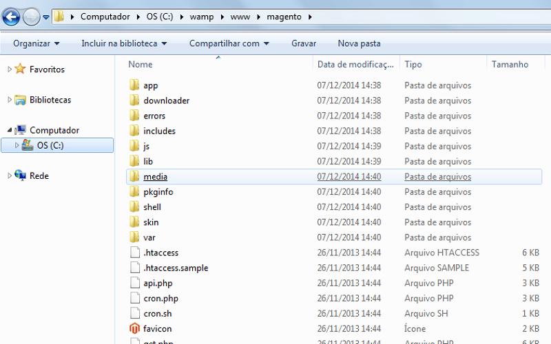 Arquivos em sua instalação Magento - imagem: reprodução